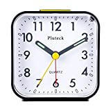 lighted tabletop clock - Pluteck Non Ticking Analog Alarm Clock with Nightlight and Snooze/Ascending Sound Alarm/Simple to Set Clocks, Battery Powered, Small, Black
