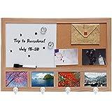 Wall Mounted Natural Wood Whiteboard / Cork Pushpin Memo Board / 4 Hook Rack / 4 Picture Frame Set