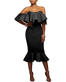 5d4c2e12f4b FOUNDO Women s Off Shoulder Ruffle Evening Party Club Bodycon Mermaid Midi  Dress