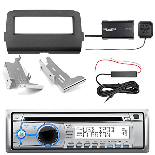 Clarion M303 Marine Single DIN Bluetooth Stereo, SiriusXM Tuner Kit, Enrock Harley Dash Kit, Hide Away Antenna Booster Kit (Select 2014-Up Harley Davidson)