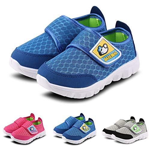 Leisuraly Boys Girls Sneakers Hook and Loop Kids Sports Running Shoes Comfortable Lightweight Grey