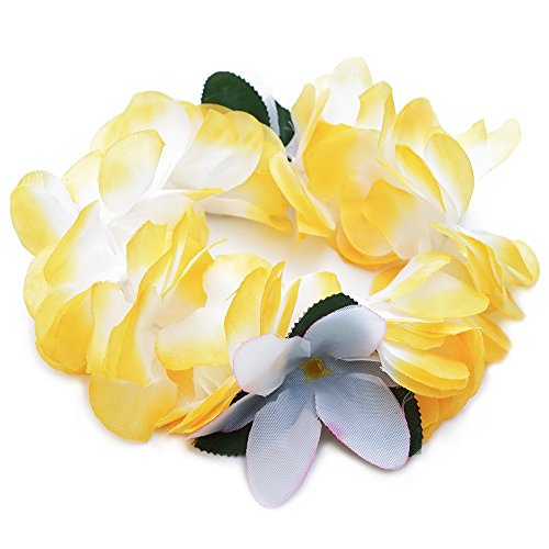 Premium Hawaiian Crown Lei- Paradise Petunia w/Orchids in Pineapple Yellow -