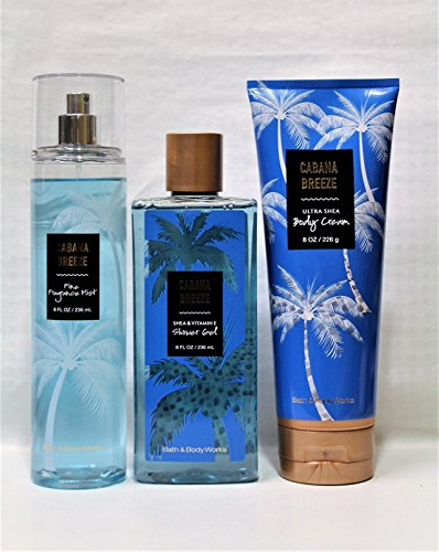 Bath & Body Works ~ Signature Collection ~ Cabana Breeze~ Shower Gel ~ Fine Fragrance Mist & Body Lotion ~ Trio Gift Set