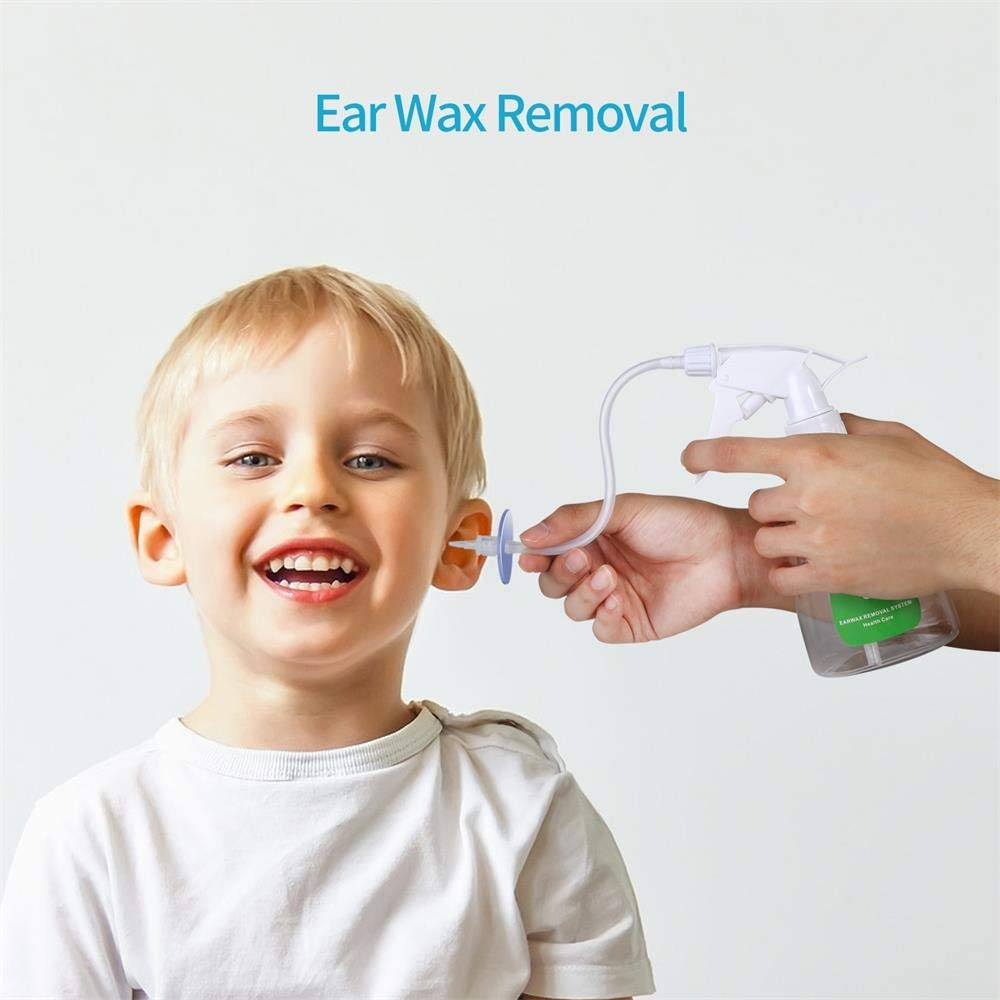 Ear Wax Removal Tool Kit Earwax Removal Cleaner Suitable for Adults and Children Bottle, Basin, 10Disposable Tips, Hard Nozzle, Bulb Syringe, Gloves, Towel, Ear Curette Kit