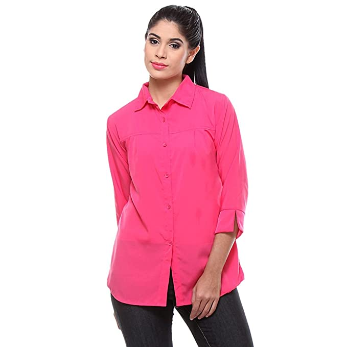 428f77a6952a64 TeeMoods Women s Crepe Casual Solid Dark Pink Shirt  Amazon.in  Clothing    Accessories