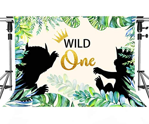 Wild One 1st Birthday Party Backdrop Animals Themed Photography Background Jungle Safari Baby Boy Photo Booth Banner Decorations MEETSIOY 10x7ft LFMT465 -