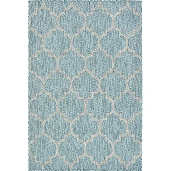 Unique Loom Outdoor Collection Casual Moroccan Lattice Geometric Aquamarine Area Rug (4 x 6)