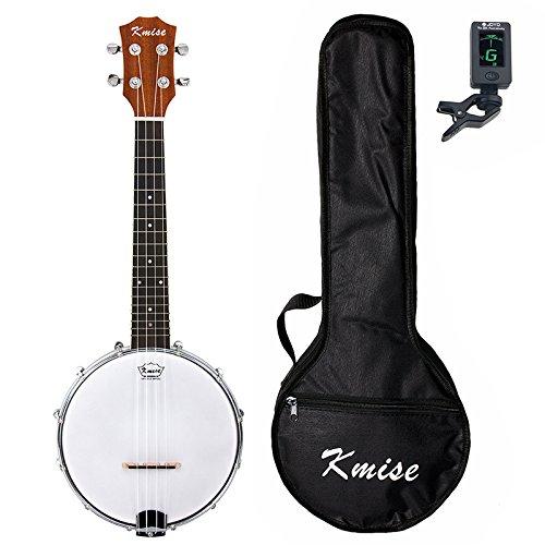 Kmise 4 String Banjo Ukulele Uke Concert 23 Inch Size Sapele With Bag Tuner