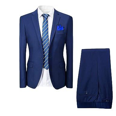 Costume Homme de Couleur Unie Un Boutons d affaire Mariage Slim fit Deux  pièces ( 0258daf9408