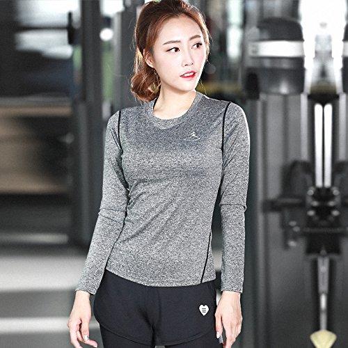 Unbekannt Erica Damen schlank Training Yoga T-Shirt Langarm Rundhals Sport Fitness Laufbekleidung