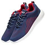 VSDANLIN Men's Breathable Knit Running Shoes Lightweight Athletic Shoes Outdoor Sneakers (47 M EU/13 D(M) US, Blue/Red)