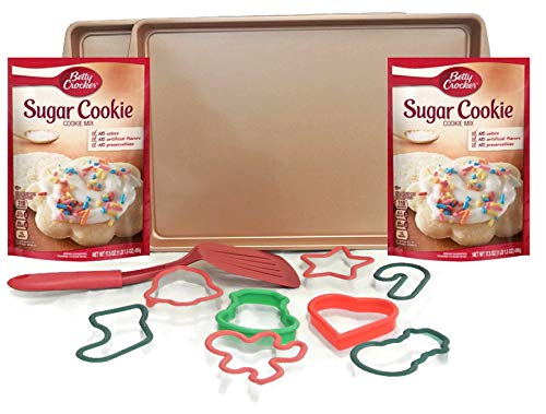 Price comparison product image Christmas Cookie Cutters Baking Kit Bundle of 13 Items Non Stick Baking Sheets Betty Crocker Sugar Cookie Mix And Spatula