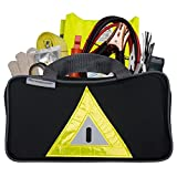 Roadside Emergency Kit Includes - First Aid Kit, Jumper Cables, Tow Rope, and many other Supplies - 106 Pieces for assistance with most Roadside Emergencies