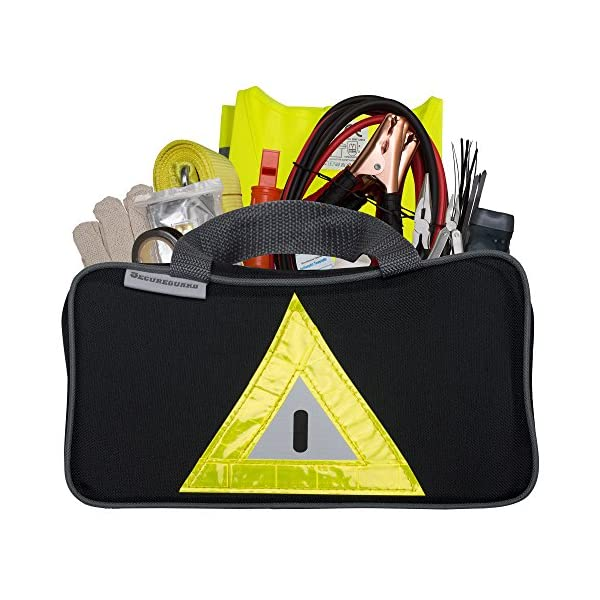 Secureguard Roadside Emergency Kit Includes   First Aid Kit, Jumper Cables, Tow Rope, And Many Other Supplies   106 Pieces For Assistance With Most Roadside Emergencies