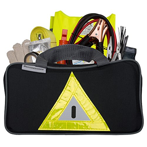 Roadside Emergency Kit Includes – First Aid Kit, Jumper Cables, Tow Rope, and many other Supplies – 106 Pieces for assistance with most Roadside Emergencies (Piece Auto Emergency Tool Kit)