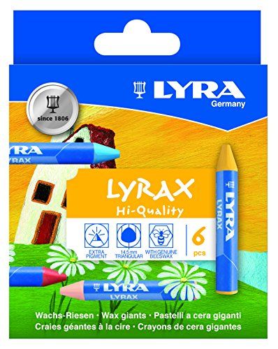 LYRA LYRAX Wax-Giants Large Triangular Beeswax Crayons, Set of 6 Crayons, Assorted Colors (5701060)