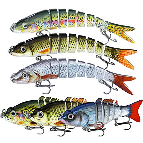 Larruping 6 Pcs Fishing Lure Set Multi Jointed Segment 3D Lifelike Hard Bait Crankbait Treble Hooks Sinking Lure for Bass Trout Perch