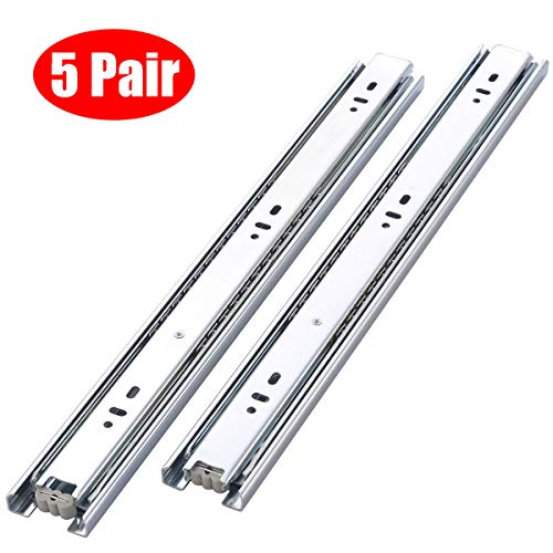 Berliget 5 Pair of 18 Inch Full Extension Hardware Ball Bearing Stainless Steel Side Mount Drawer Slides, Available in 12