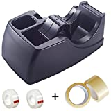 Officemate Recycled 2-In-1 Heavy Duty Tape Dispenser, Black (96690), include 2 pack of 2'' tape and 2 pack of 3/4'' tape. 5 Piece Set