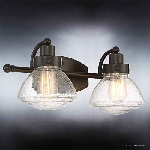 Luxury Transitional Bathroom Vanity Light, Medium Size: 8''H x 17.75''W, with Rustic Style Elements, Oil Rubbed Parisian Bronze Finish and Seeded Schoolhouse Glass, UQL2651 by Urban Ambiance by Urban Ambiance (Image #3)