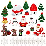 BBTO 43 Pieces Miniature Christmas Ornaments Set Fairy Garden Dollhouse Decoration Christmas Craft Ornaments DIY Miniature Christmas Decorations