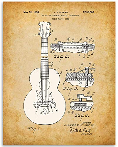- 1952 Gibson Guitar Bridge Patent - 11x14 Unframed Patent Print - Great Gift Under $15 for Guitar Players