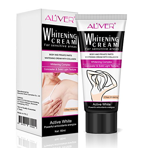 Natural Whitening Cream, ALIVER Underarm/Armpit Whitening Lightening & Brightening Deodorant Cream, Body Creams for Body Dark Skin, Lightening Face, Neck, Bikini, Thigh and Sensitive Area Skin 60ML by ALIVER