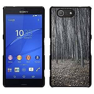 // PHONE CASE GIFT // Duro Estuche protector PC Cáscara Plástico Carcasa Funda Hard Protective Case for Sony Xperia Z3 Compact / Winter Forest Deep Cold Dark Classy /
