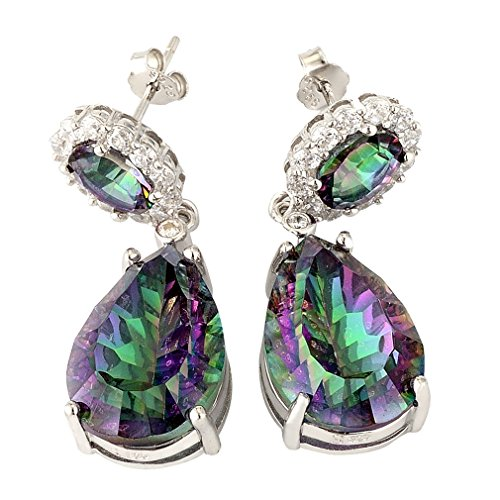 Aurora Tears Amethyst Purple Mystic Fire Topaz Teardrops Dangle Drop Earrings in 925 Sterling Silver Aurora Tears