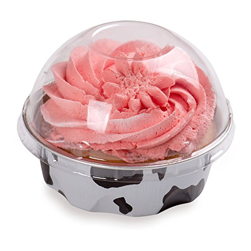 Cow Oven - Premium 3.4-OZ Baking Cups with Lids – Round Foil Baking Cups & Lids Perfect for Fancy Desserts or Mini Snacks – Black & White Cow Print Cup with Clear Lid – Oven & Freezer Safe – Recyclable – 100-CT