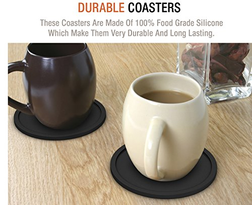 Large Product Image of NIZE Silicone Coasters, 8 Easy To Clean Black Drink Coasters, Perfect To Protect Your Furniture, No More Water Rings and Wet Sticky Tables, Non-Slip and Great Grip, Long-Lasting