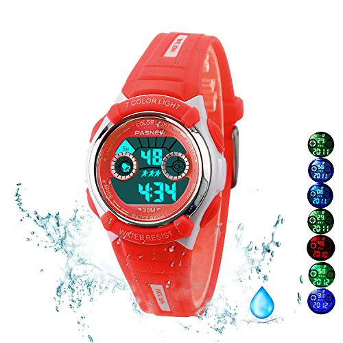 7 Colors Kids Sports Watches Children For Girls Boys Waterproof Military Dual Display Led Kids Watch Red