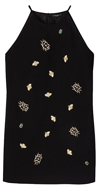 5b9c415282 Victoria Beckham Women s Black Embellished Bug Dress at Amazon Women s  Clothing store