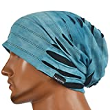 JESSE · RENA Chic Striped Thin Baggy Slouch Summer Beanie Skull Cap Hat (9A-Blue)