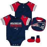 NFL by Outerstuff NFL New England Patriots Newborn & Infant 50 Yard Dash Bodysuit, Bib & Bootie Set Dark Navy, 0-3 Months