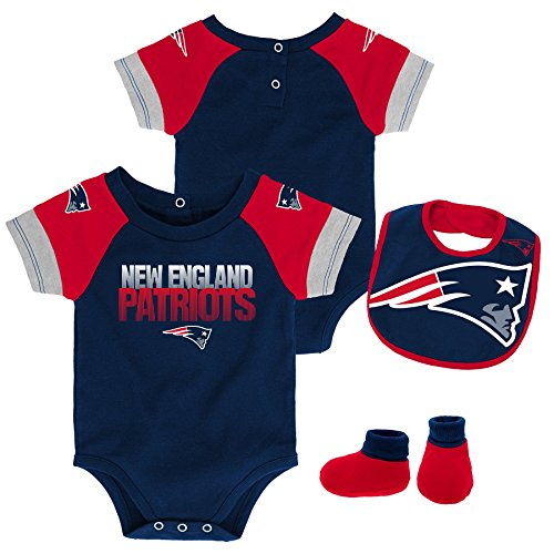 NFL by Outerstuff NFL New England Patriots Newborn & Infant 50 Yard Dash Bodysuit, Bib & Bootie Set Dark Navy, 24 Months
