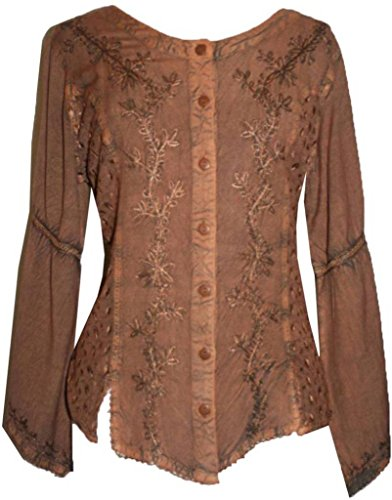 102 B Gypsy Medieval Embroidered Top Blouse (3X, Rust) ()