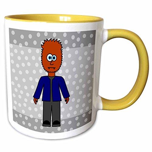 3dRose Janna Salak Designs Halloween - Cute Wolfman Gift - 11oz Two-Tone Yellow Mug (mug_6317_8)