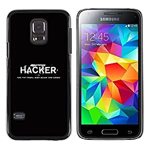 Design for Girls Plastic Cover Case FOR Samsung Galaxy S5 Mini, SM-G800 Hacker Black White Text Computer Hacking OBBA