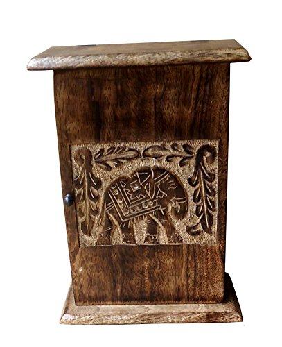 Engraved Elephant (Wooden Wall Hooks Key Hanger Rack 6 Hooks Storage Organizer (7 X 9.5 in) (Elephant))