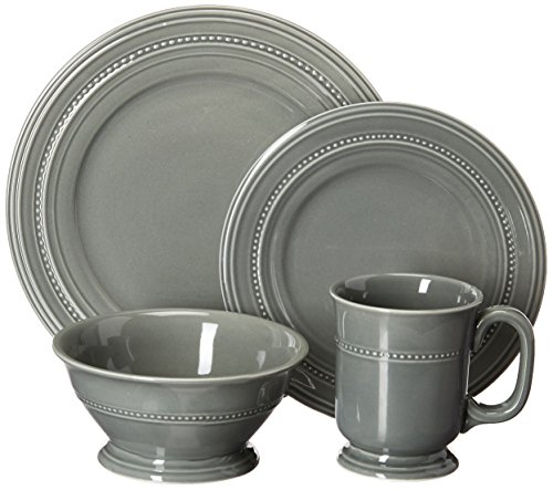 Gibson Elite Barberware 16 Piece Dinnerware Set, Gray (Dish Gray Sets)