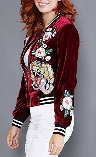 Farktop Women's Embroidery Patch Velvet Classic Biker Quilted Bomber Flight Jacket,Jacket-red,Large by Farktop (Image #2)