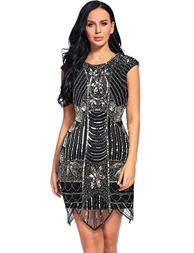 Flapper Girl 1920s Vintage Inspired Sequin Embellished Fringe Gatsby Flapper Dress (S, Black&Gold) (Flapper Girls Dresses)