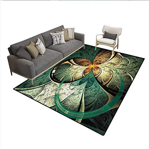 - Rug,Computer Art Featured Surreal Flowers Dreamy Imaginary Creative Concept,Area Carpet,Jade Green OrangeSize:5'x7'
