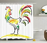 chicken artwork - Ambesonne Gallos Decor Collection, Rooster Chicken Tail Farm Animal Oil Pencil Drawing Effect Child Artwork, Polyester Fabric Bathroom Shower Curtain Set with Hooks, White Dark Orange Green Yellow