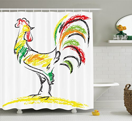Rooster Oil (Ambesonne Gallos Decor Collection, Rooster Chicken Tail Farm Animal Oil Pencil Drawing Effect Child Artwork, Polyester Fabric Bathroom Shower Curtain Set, 75 Inches Long, Red Green Yellow Black)