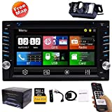 FREE Backup Camera Included + NEW Design Double Din Car Stereo DVD Player GPS Navigation Radio Bluetooth 2 Din Capacitive Touch Screen...