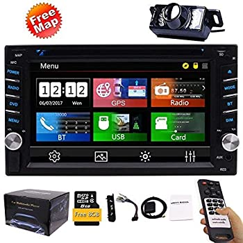 FREE Backup Camera Included + NEW Design Double Din Car Stereo DVD Player GPS Navigation Radio Bluetooth 2 Din Capacitive Touch Screen support USB SD 1080P ...