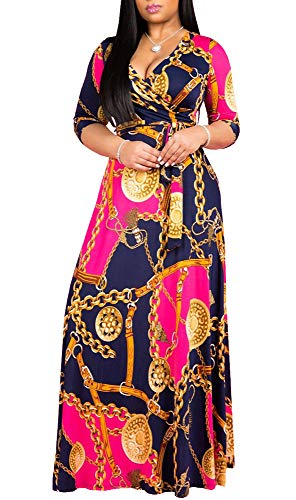 Womens Sexy V-Neck Floral Printed Long Sleeve Party Maxi Dresses Floor Length Loose Plus Size Belt Dress Pink -