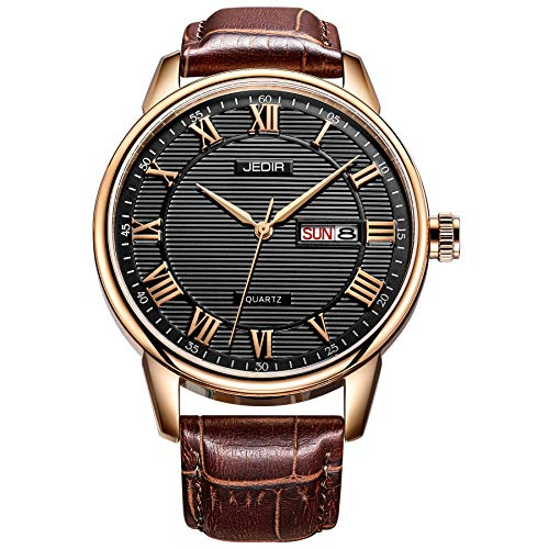 (BUREI Men Watch Classic Dress Wrist Watches Analog Quartz Date Display with Black Dial Brown Genuine Leather Strap )